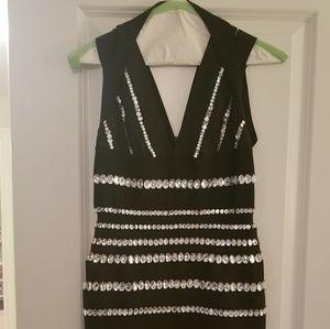 bebe Dresses - Women's black plunge dress with diamond accents
